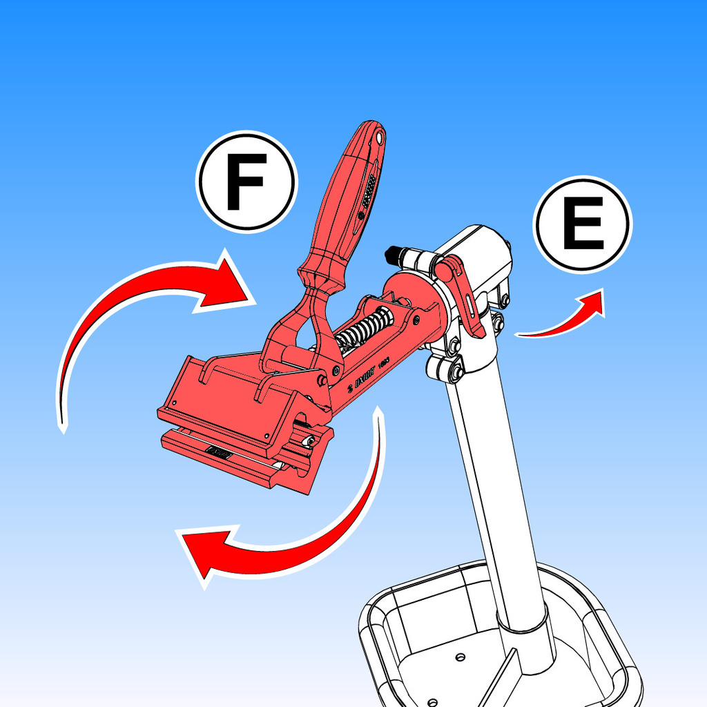 To adjust bike stand head, release lever (E) and adjust/rotate the stand head (F).