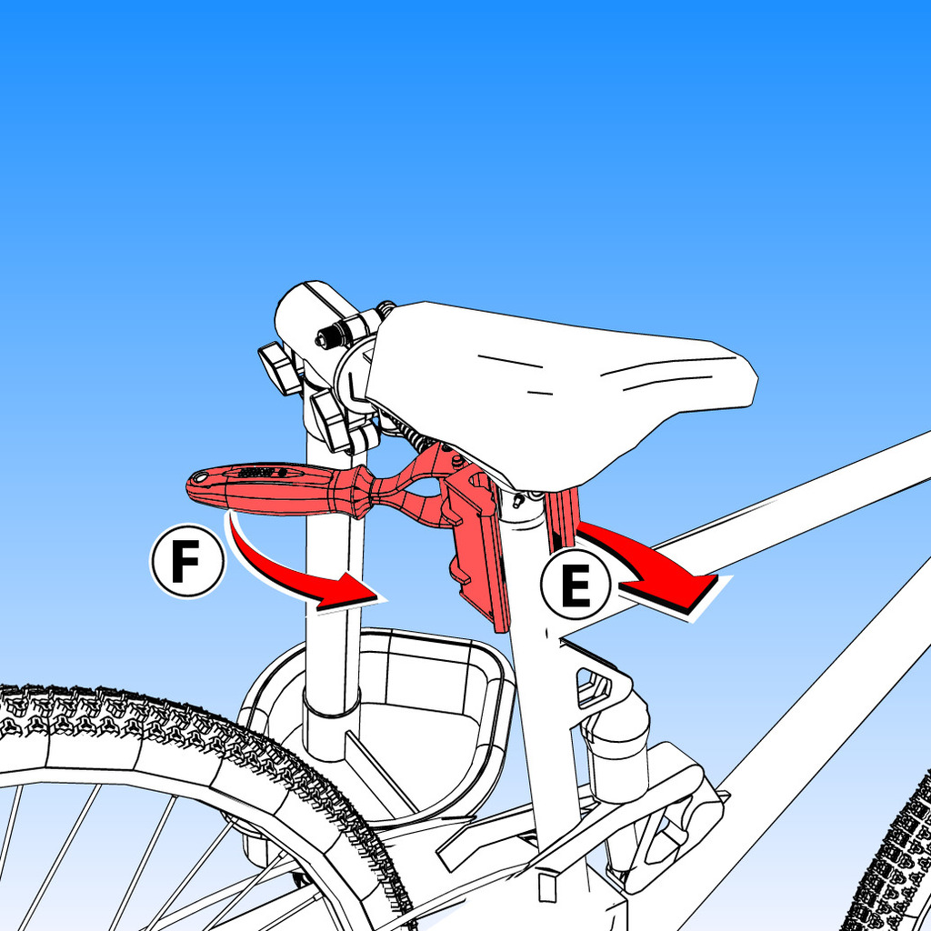Adjust opened jaws (E) to the tube of bike. Turn handle (F) until jaws accommodate frame whole tube. Adjust final clamping pressure, to avoid damage to bike, do not over tighten.