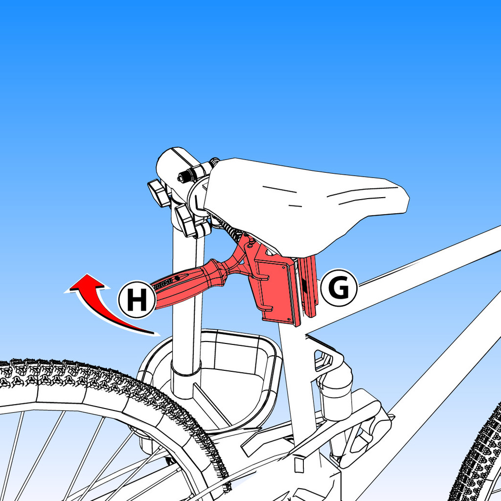 Firmly hold bike frame (G). Flip handle (H) to quickly release tube from jaws.