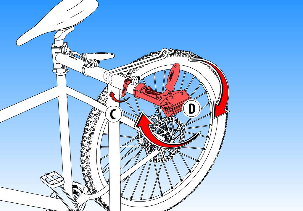 Za podešavanje položaja glave stege za bicikle, otpustite polugu (C) i podesite/zarotirajte glavu (D).