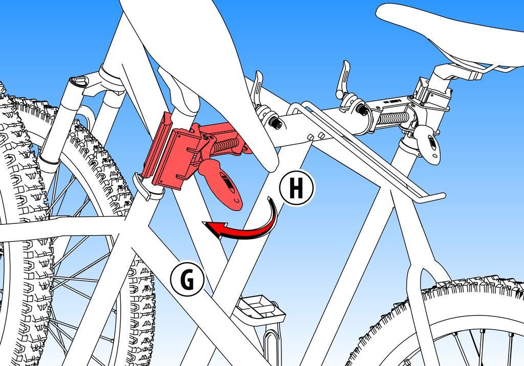 Pevne drží rám bicykla (G). Nastaviteľná rukoväť (H) k rýchlemu uvoľneniu z čeľustí.