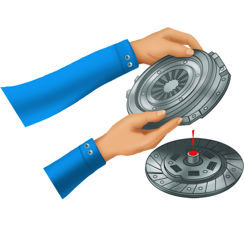 Place the spring plate on the clutch disc.