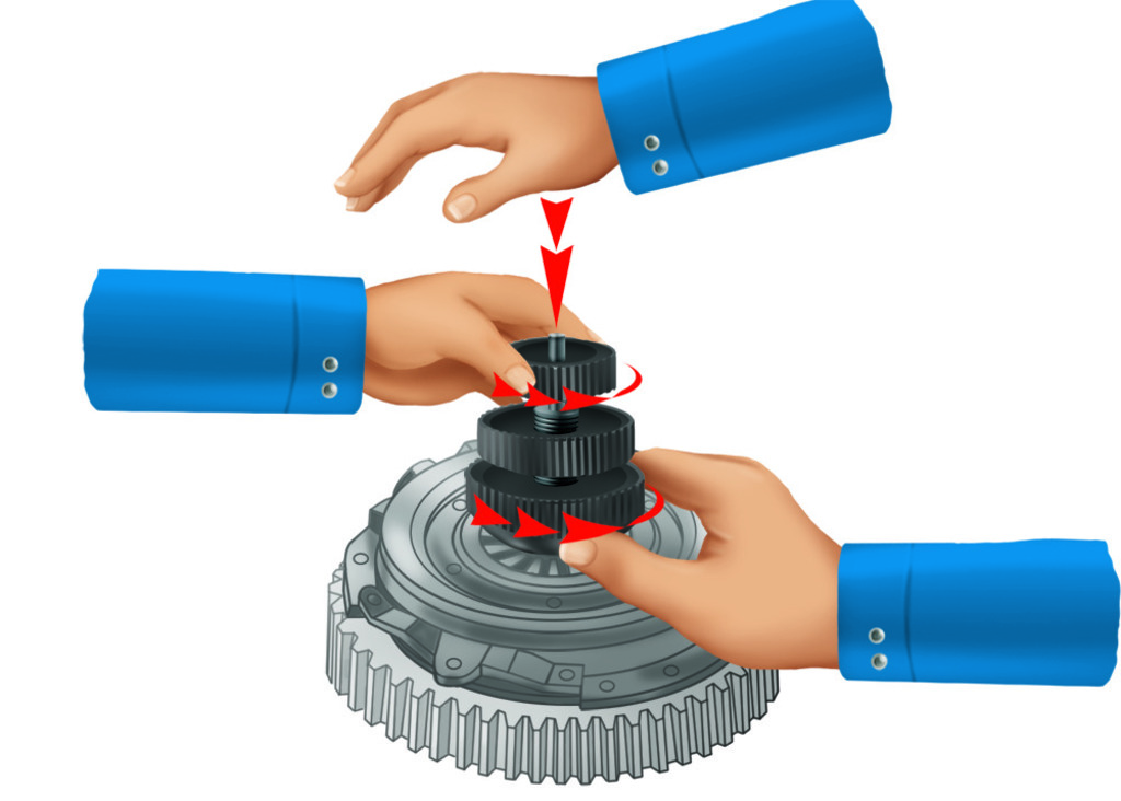 Place the clutch on the engine flywheel and fix it. Unscrew knob (3). Completely unscrew knob (1) and push to release the expanding cone. Remove the tool from the clutch.
