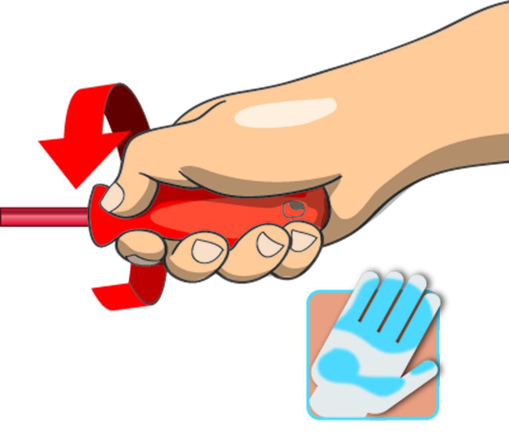 Gran área de contacto manual para mayor fuerza de torque.