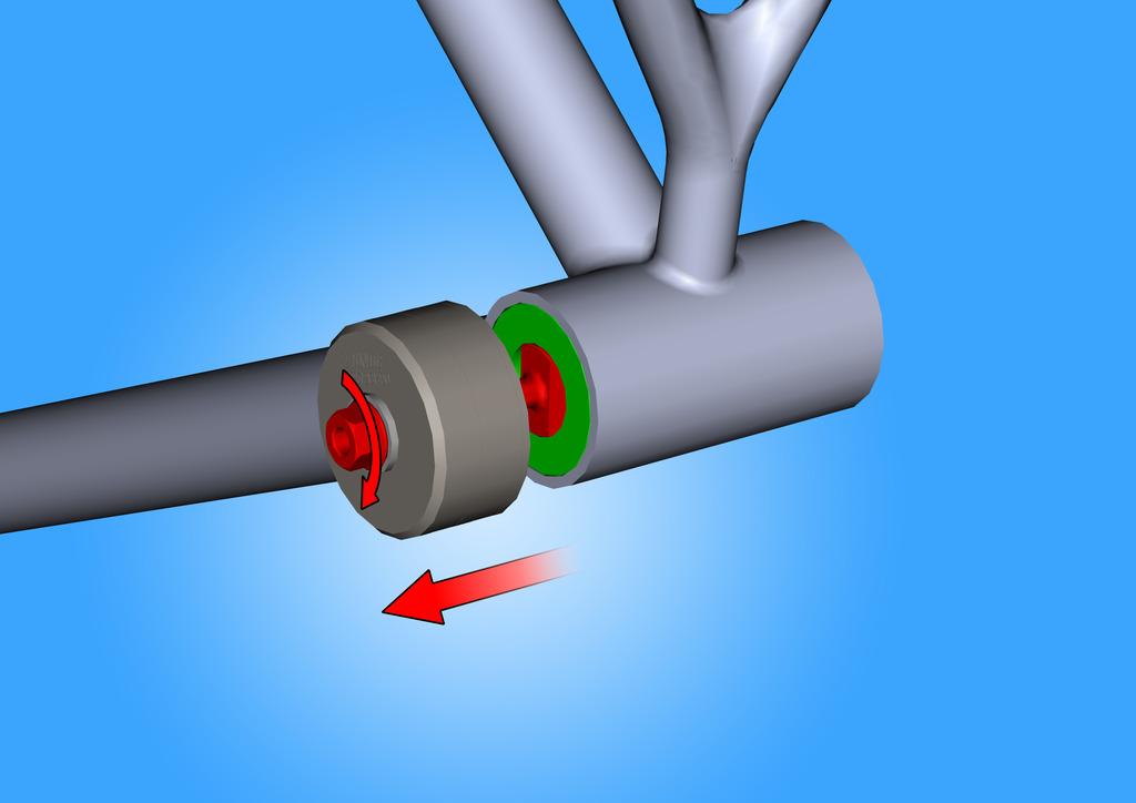 Pour enlever la cuvette de roulement du cadre du vélo, visser l'écrou jusqu'au point où l'extracteur n'a pas encore complètement extrait la cuvette du cadre. Répéter la même procédure de l'autre côté.