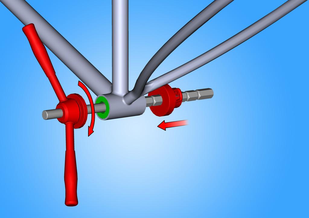Assembler comme indiqué notre outil pour cuvettes de roulement (article 1680/4) et les cuvettes du jeu de pédalier. Tourner la poignée de l'outil, en veillant bien à ce que les cuvettes soient toujours alignées. Maintenez la pression jusqu'à ce que chaque cuvette soit bien insérée dans le cadre.