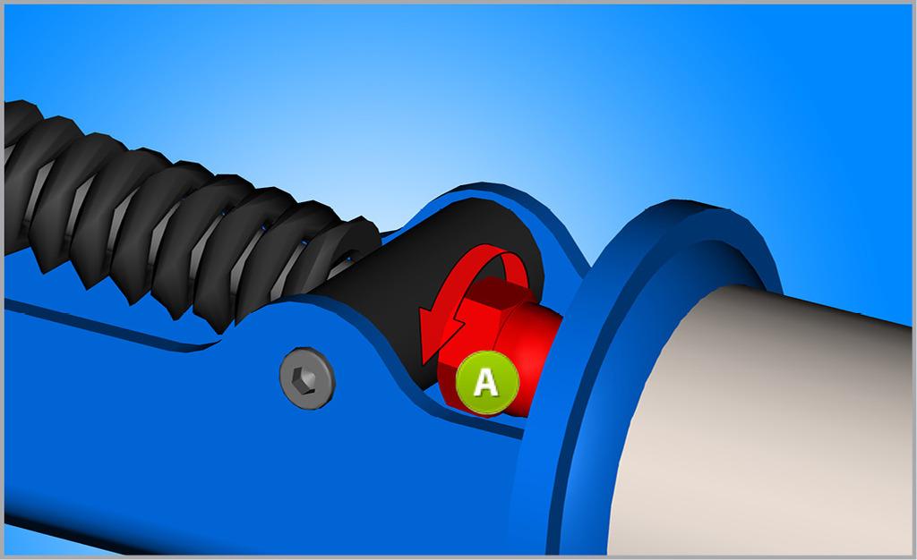 Pomocou kľúča odskrutkujte maticu M8 (A) od kľuky. POZOR pri odskrutkovaní: pružina je stlačená a môže vyskočiť.