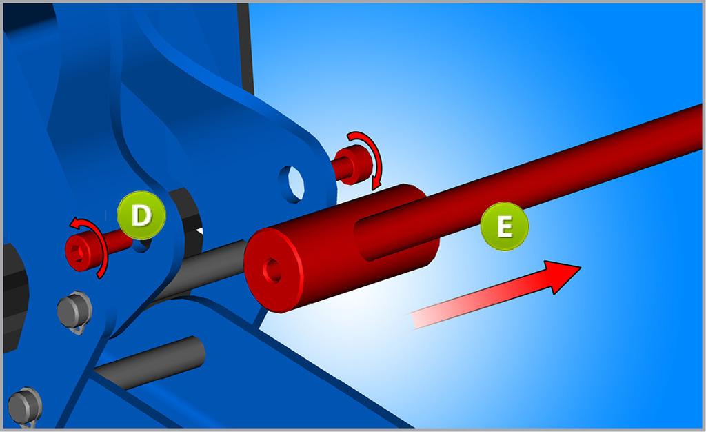 Odskrutkujte skrutky M4 (D) z rukoväte a vyberte kľučku (E), ktorá nebude potrebná pre systém so skrutkou.