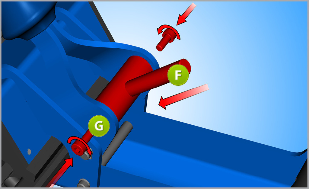 Inserire la nuova maniglia (più corta) (F) tra le parti metalliche del manico e fissarla sulla maniglia con due viti M4 (G).