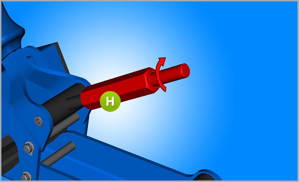 Utiahnite novú M8 maticu (H) do polovice výšky páky.