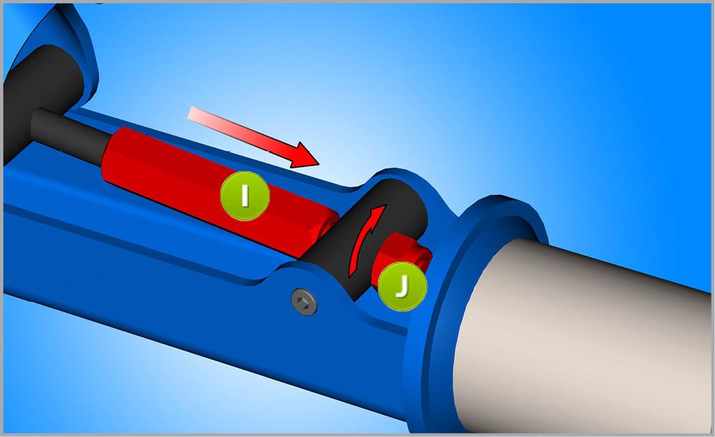 Posuňte nastavovaciu matice M8 (I) cez vodiace páky a skrutku pomocou kľúča veľkosti 13mm vložte novú maticu M8, zatiaľ čo istíme maticu M8 (J) s ďalším 13mm kľúčom. M8 šesťhranná matica sa zaskrutkuje tak, aby medzi ňou a vodiacou pákou bola malá vôľa, ktorá môže byť ovládaná rukou.