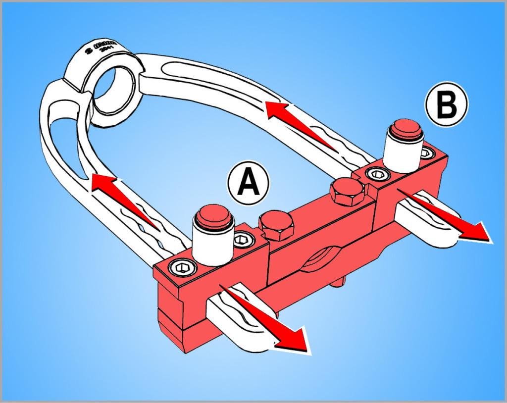 Prije postavljanja alata u stegu (ukoliko je potrebno) podesite potrebnu dužinu alata u odnosu na dužinu zgloba, pritiskom na dva gumba (A i B)
