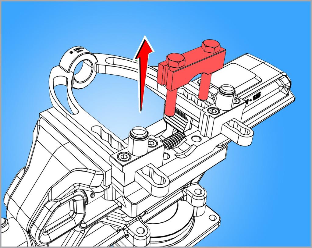 Demontirajte gornji podesivi držač s vrha alata (držač ima dva vijka S17)