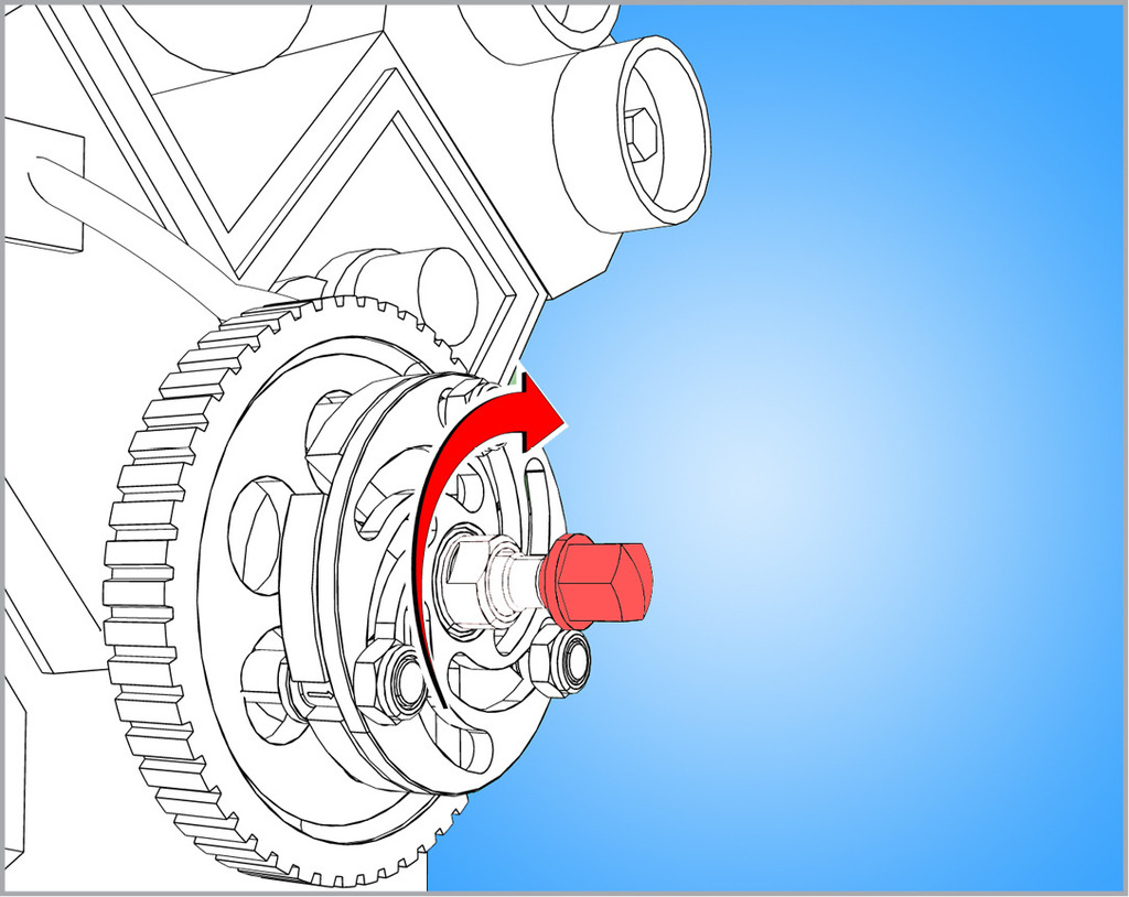 Turn spindle clockwise until pulley comes off.