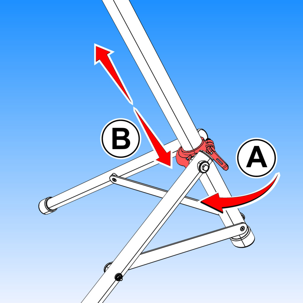 To adjust bike stand legs, release lever (A) and adjust the height (B) of standing legs.